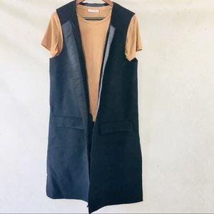 Zara Studio Long Black Wool Vest